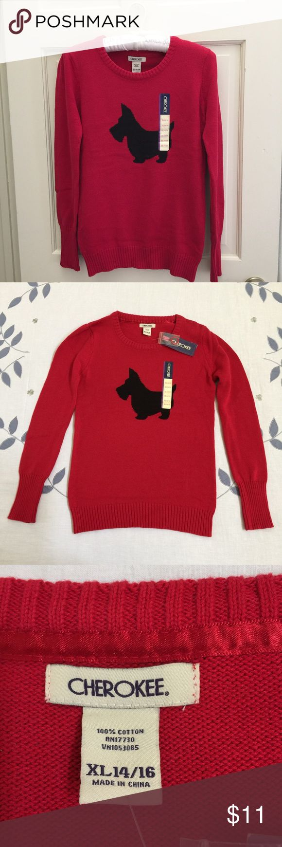 Girls sweater size XL Girls red sweater 100% cotton, size XL Cherokee Shirts & Tops Sweaters