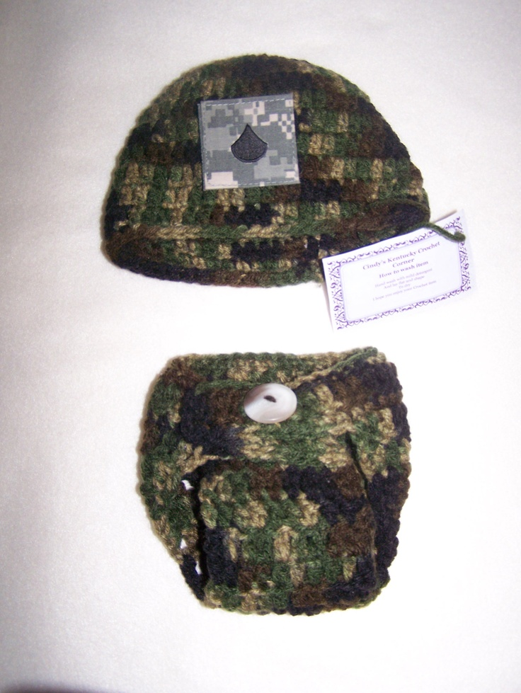 Boys newborn Army hat with diaper set could add a big pink bow to turn it into a girls set also its a great photo prop