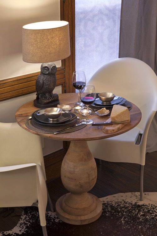 Turned Pedestal Bistro Table And Owl Table Lamp From West Elm! U2014 In A Room