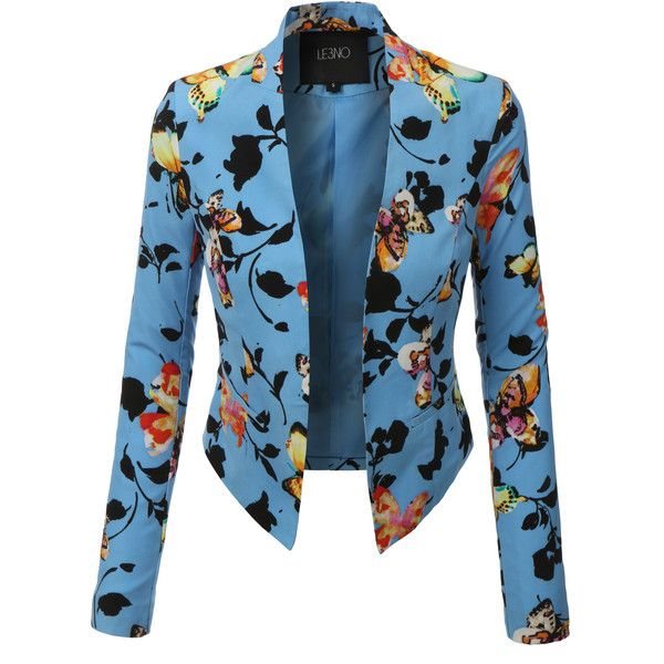 LE3NO Womens Lightweight Cropped Open Front Floral Blazer ($25) ❤ liked on Polyvore featuring outerwear, jackets, blazers, blazer, lightweight blazer, cropped jacket, light weight jacket, blue cropped blazer and drape jacket