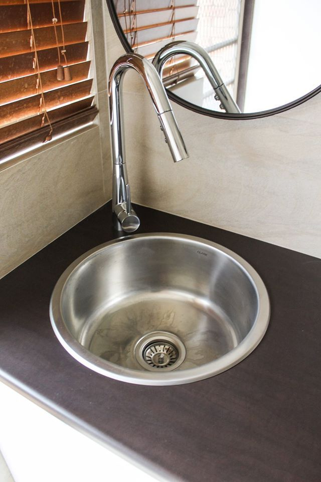 Rounded Drop In Sink + Vegetable Over Hang Mixer     Laundry Idea - Laundry Tops - Laundry Cupboards - Laundry Ideas - Laundry Sink - Laundries - Laundry Renovation - On the ball bathroom completed project   Laundry Renovations Perth