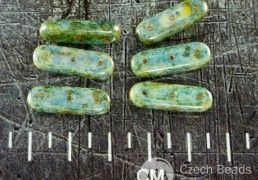 Anissa Picasso Luster Blue Turquoise Yellow Three Hole Czech Glass Brick Stick Bar Beads Spacer 21mm x 7mm 6pcs