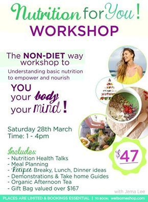 You'll learn about Macronutrients, Micronutrients, Sugar, How to 'Meal Plan', Food Charts and 7 Steps to Daily Optimal Nutrition. Everything you need to equip yourself to get started and keep you going on your health journey. Time: 9pm – 12noon Date: Saturday, 28th March 2015 Location: Gold Coast *Spaces are limited, first in best dress! Tickets normally $47 per person. Save $20!