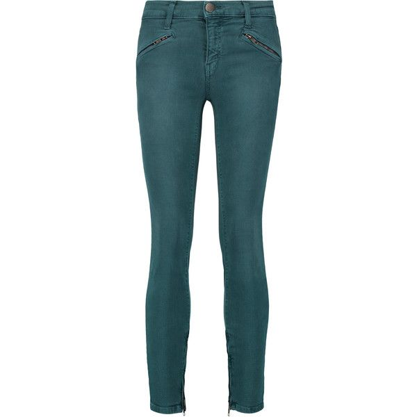 Current/Elliott The Silverlake low-rise skinny jeans ($105) ❤ liked on Polyvore featuring jeans, teal, button-fly jeans, skinny jeans, teal jeans, current elliott skinny jeans and skinny fit denim jeans
