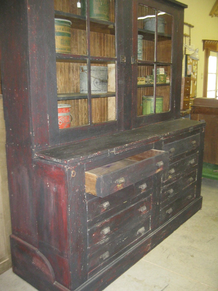 Items Similar To Primitive Painted Large Black Over Red Cabinet Or Cupboard  Out Of An Old Mercantile Great For Storage And Organization On Etsy