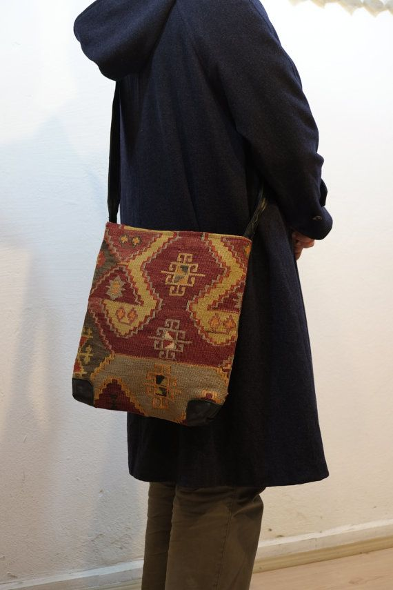 Unisex Hanwoven shoulder kilim bagUnique Handmade by kilimci