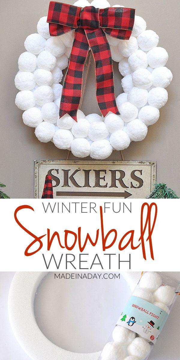 Winter Fun Snowball Wreath, how to make a snowball wreath, #snowball, #winter wreath, #buffaloplaid, Super easy snowball wreath, winter wreath