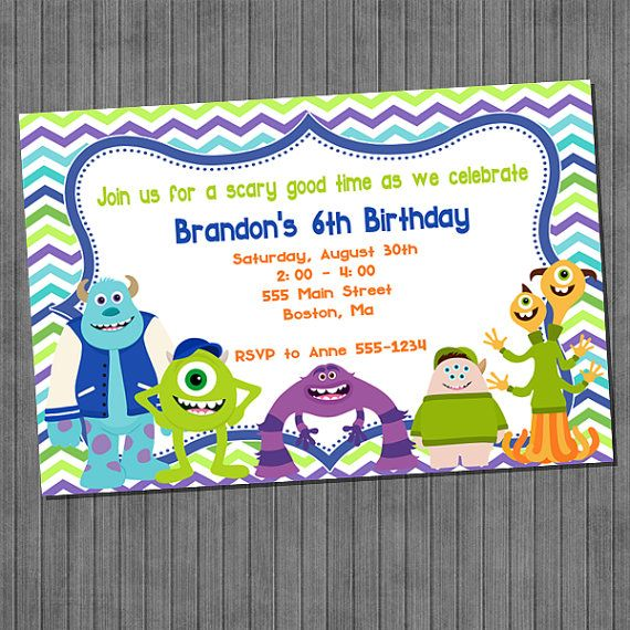 SALE Monster University Birthday Party Invitation by CopalaDesigns