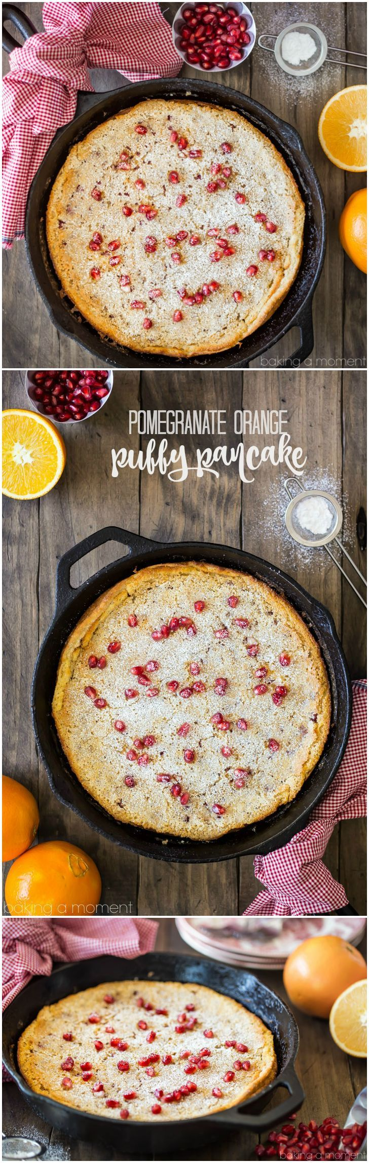 Start your weekend off right with this pomegranate orange puffy pancake! Dotted with tangy, seasonal pomegranate and infused with bright citrus. #RiseandShine
