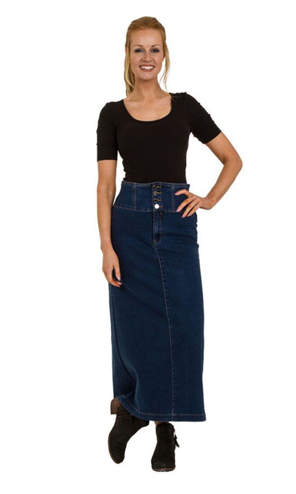 High Waist Long Denim Skirt Maxi Skirt With Stretch Us Size 6-18
