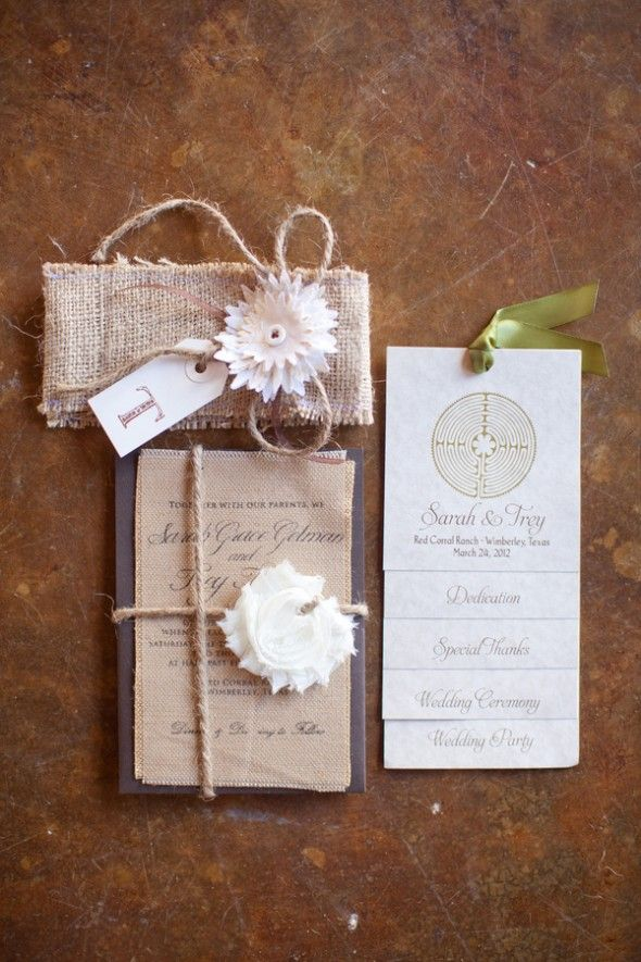 Do you like the twine or the burlap?    Rustic Country Wedding Invitation & program