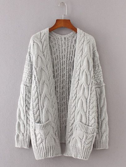 Shop Drop Shoulder Cable Knit Cardigan online. SheIn offers Drop Shoulder  Cable Knit Cardigan   more to fit your fashionable needs. 3a601498b7