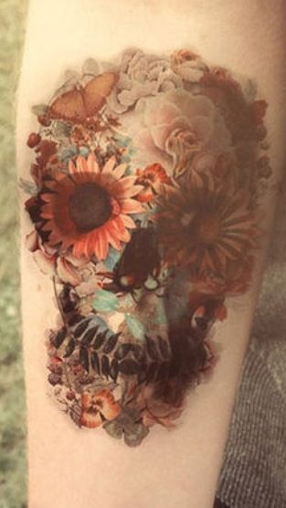 floral sugar skull tattoos piercings