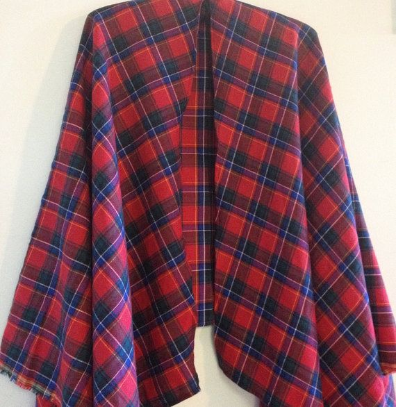 Red Poncho: Tartan red poncho featuring red by AlannaAccessories