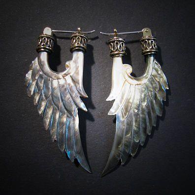 Angel Wing Earrings (Silver) Liquid Fire Mantra - http://www.liquidfiremantra.com/
