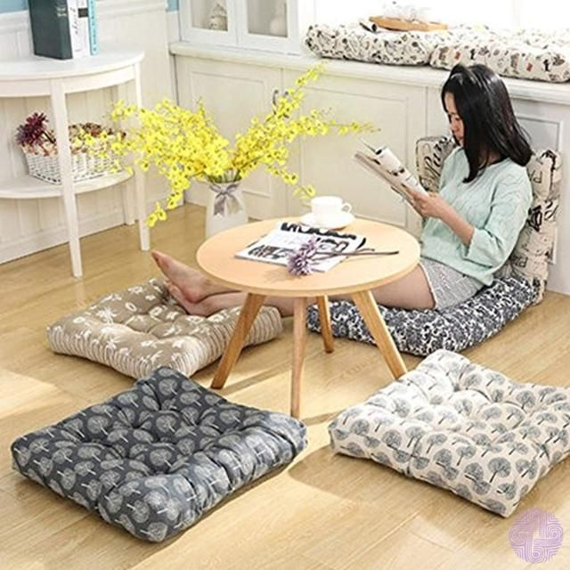 Patterned Japanese Style Button Tufted Floor Cushions Tmjj Cotton