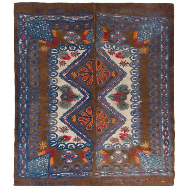 Large Vintage Felt Rug from Turkey   From a unique collection of antique and modern turkish rugs at https://www.1stdibs.com/furniture/rugs-carpets/turkish-rugs/