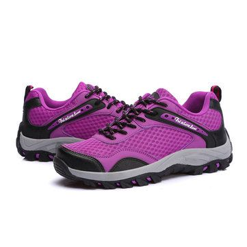 Unisex Sport Running Shoes Mesh Outdoor Casual Lace Up Flats - US$41.98