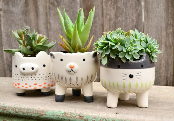 White Ceramic Hand Painted Footed Animal Planters Cat Sheep Pig