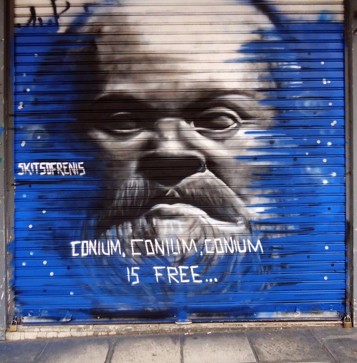 Socrates graffiti in Athens , 2013.Artist - Skitsofrenis