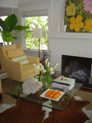 White Brick FireplacesPainted FireplacesWhite FireplaceYellow ArmchairYellow ChairsPainted BricksWhite BricksHome Living RoomLiving Spaces