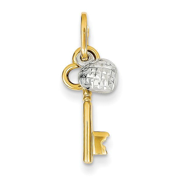 14k Two-tone Polished and Diamond Cut Heart and Key Pendant YC1073
