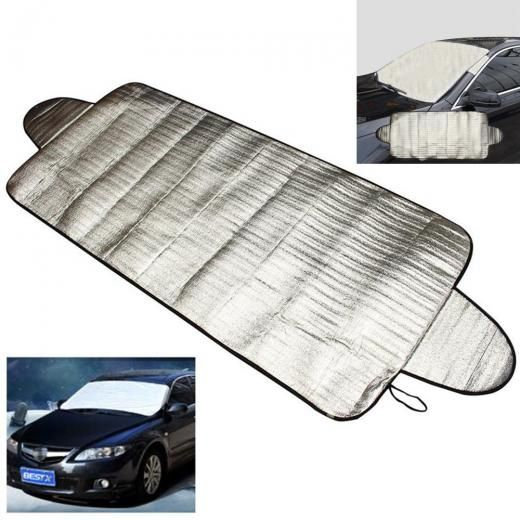 New Smart Windshield Cover Anti Shade Frost Ice Snow Protector Uv Protection Approx.192 X 70cm(l W) Cotton And Aluminum Film Silver Car Covers