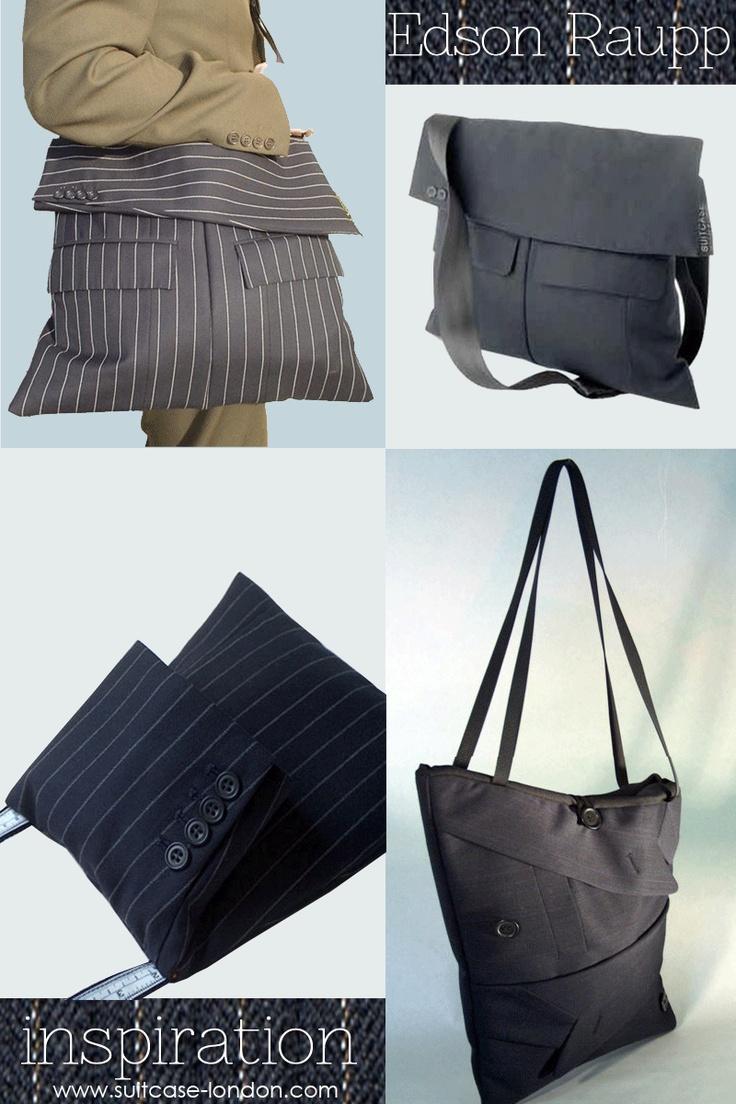 Men's suit inspired handbags | tutorial drawing of how 1 designer uses suit to make bag