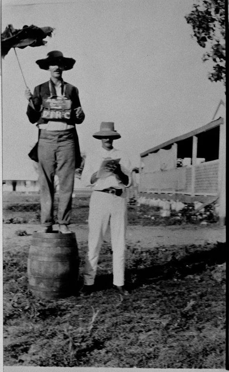 067255PD: Hubert H. Brockman and Maitland Buckle, bookmakers at Derby races, ca. 1919 https://encore.slwa.wa.gov.au/iii/encore/record/C__Rb2865653