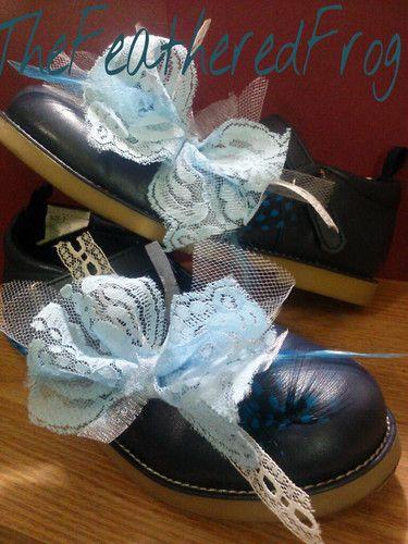 handmade blue lace shoe clips