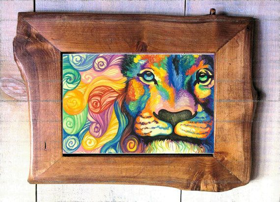 Acquerello di Leone Arcobaleno dipinto da di PaintRainbowPrints