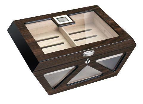 Cigar Humidors - Visol Collin Macassar Lacqered Glass Top Cigar Humidor - Holds 100 Cigars - Oxemize.com