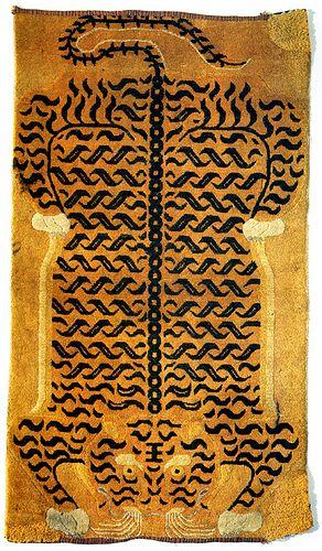 19th c. Tibetan tiger rug