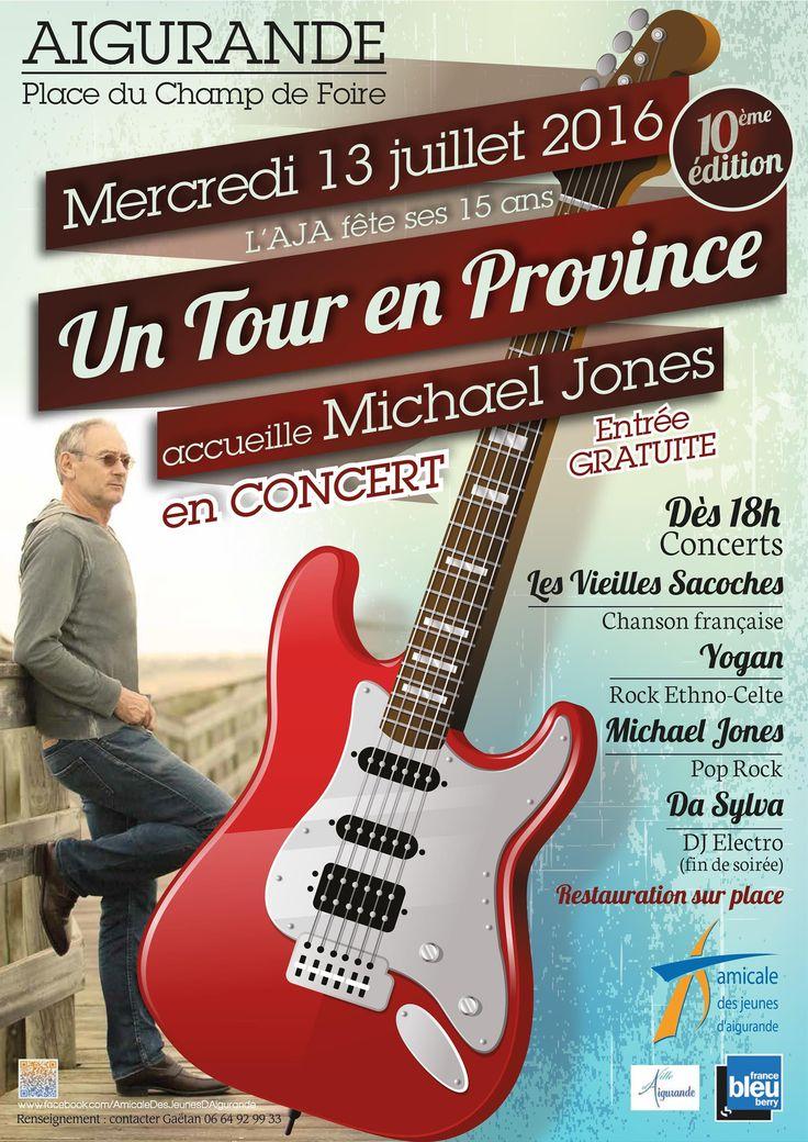 Michael Jones en concert, Aigurande, Place du champ de Foire, Mercredi 13 Juillet 2016, 18h00 > Jeudi 14 Juillet 2016, 3h00