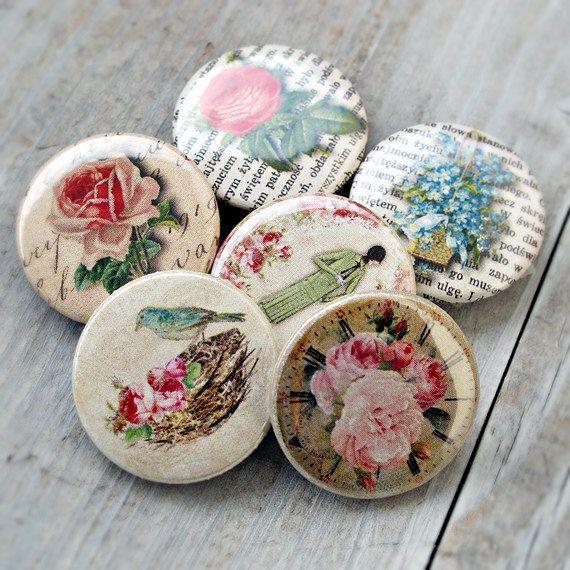 Set of 6 romantic vintage buttons flair badges by Lemoncraftshop, $4.50