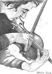The Violinist by Natalia Bienek, pencil on paper