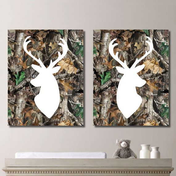 RealTree Camo Deer Head Print Duo - Real Tree Camouflage Antlers Buck Hunting Boy Kid Child Nursery - You Pick the Size & Colors (NS-301) on Etsy, $15.00