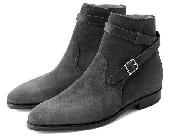 Handmade men jodhpur boots, gray suede leather boot for men, men dress boots - Boots