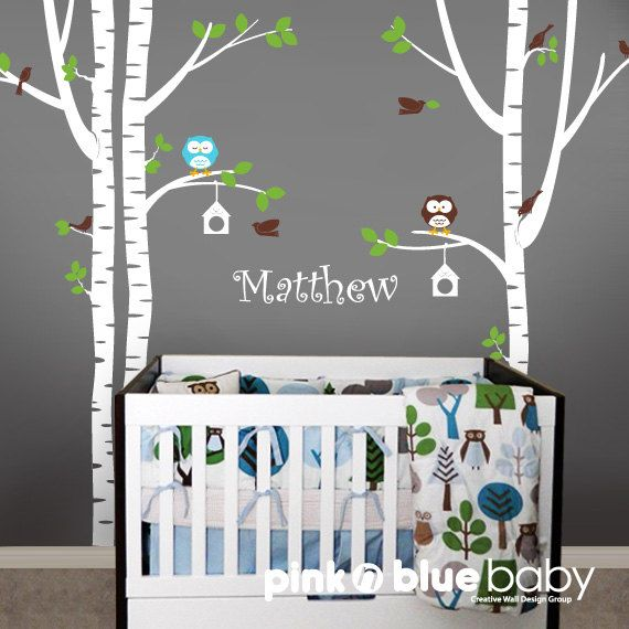 Wall+Decals+++Birch+Tree+Owl+Bird+and+Custom+Name+by+pinknbluebaby,+$119.00