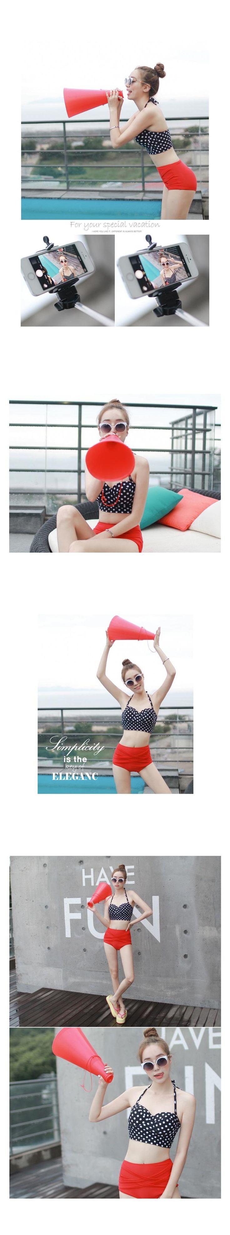 Buy DJ Design Set: Halter Bustier Bikini Top + Mid-Waist Bottoms | YesStyle