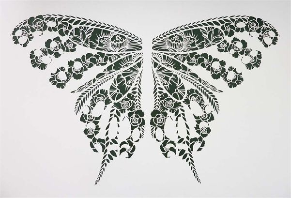Little Lotus Exhibition - Handcut Butterfly Stencil. Artwork from Flox. See more at http://watermarkltd.com/