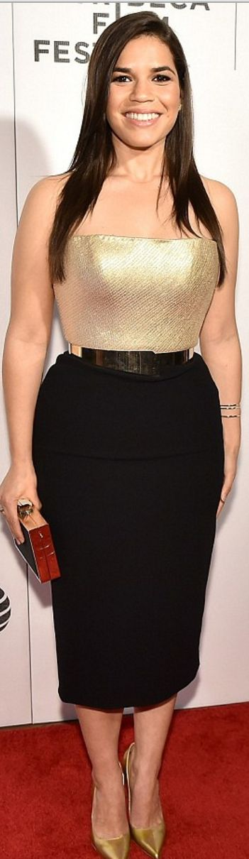 Who made  America Ferrera's black and gold strapless dress?