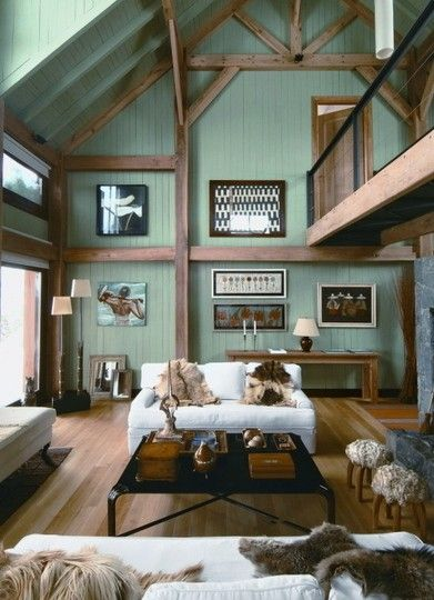 Modern Mountain Retreats | Apartment Therapy Boston: Mountain Retreat, Wall Colors, Idea, Living Rooms, Dreams, Expo Beams, Green Wall, House, Wood Beams