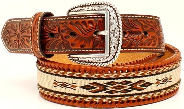 3D Western Mens Belt Leather Embossed Floral Tapered Buckstitch Brown D3870