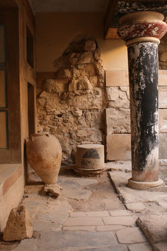 Knossos, Crete columns and vase  We have authentic #Greek #cookies and #oliveoil available at TasteofCrete.com !