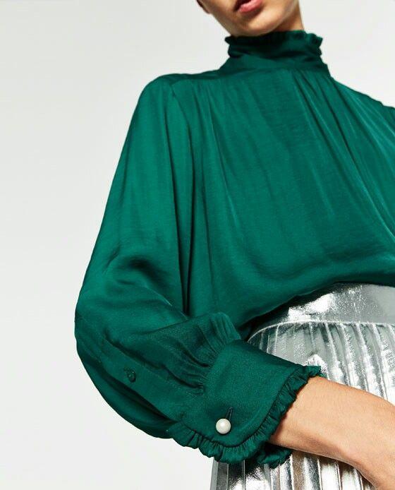 High Collar Blouse by Zara. Green Blouse. Frill and pearl cuff. Silk feel.