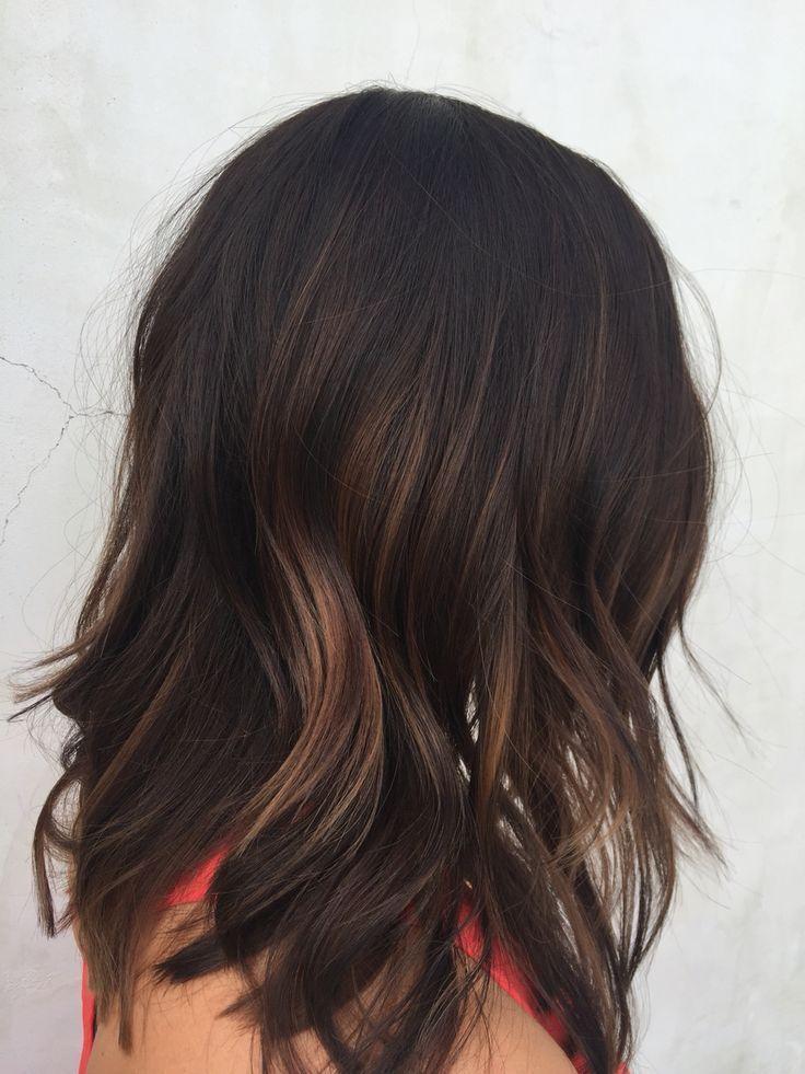 brunette red highlights