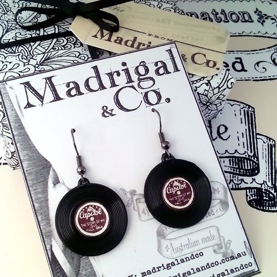 Vintage Miniature Record  Earrings from the USA. by MadrigalandCo
