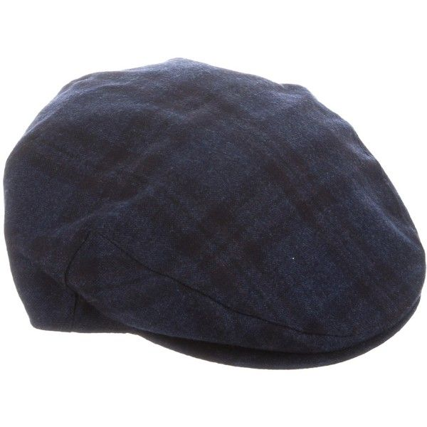 Pre-owned Luciano Barbera Plaid Wool Cap (1 130 ZAR) ❤ liked on Polyvore featuring men's fashion, men's accessories, men's hats, blue, mens baker boy hat, mens newsboy hat, mens hats and mens wool hats