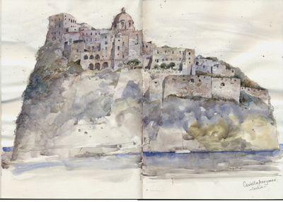 Castello Aragonese, Ischia, Italy A4 Sketchbook Watercolour, Kathy Lewis